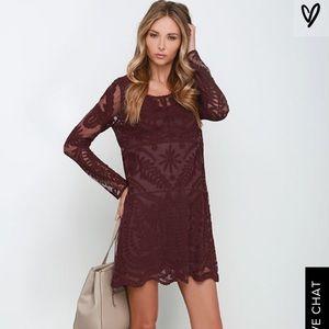 Black Swan Heidi burgundy lace long sleeve dress